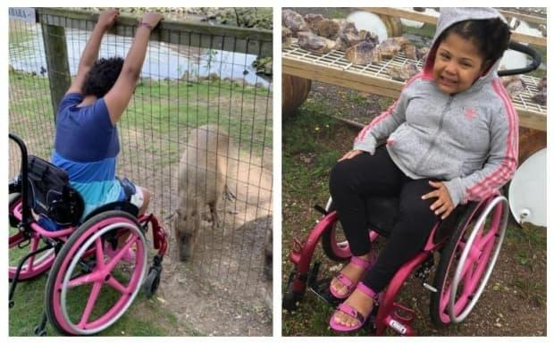 Aaliyah Faulknor, 9, has cerebral palsy and can only walk just about three metres at a time. Her custom wheelchair was stolen, then recovered by London, Ont., police, but it's now unusable.  (Submitted by Hayley Fair - image credit)