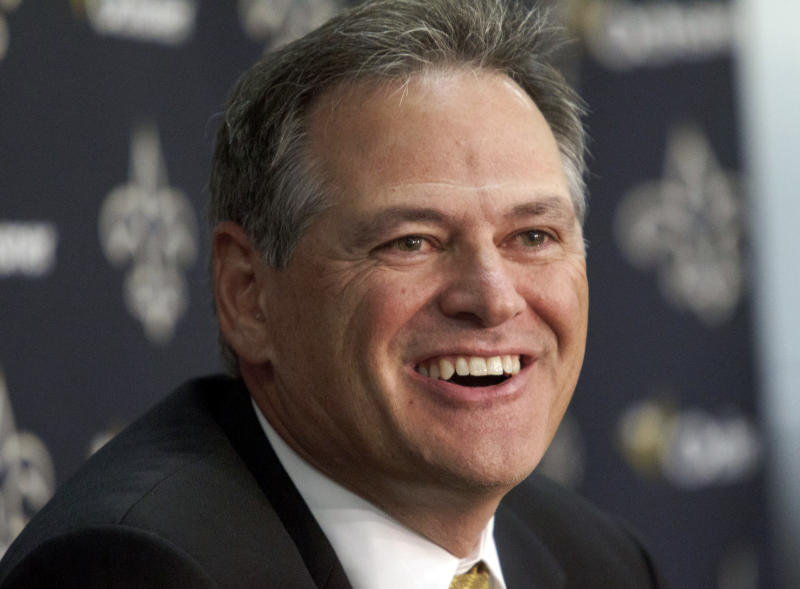 New Orleans Saints general manager Mickey Loomis smiles during a media availability about the NFL draft at the team's training facility in Metairie, La., Thursday, April 26, 2012. (AP Photo/Matthew Hinton)