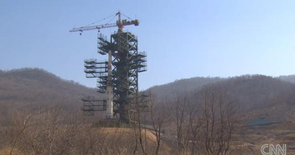 This still from a CNN broadcast shows North Korea's Unha-3 rocket, as the country officials prepared for an attempted satellite launch in April 2012.