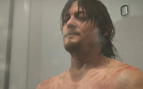 Norman Reedus' character in shower - Credit: Kojima Productions/Kojima Productions