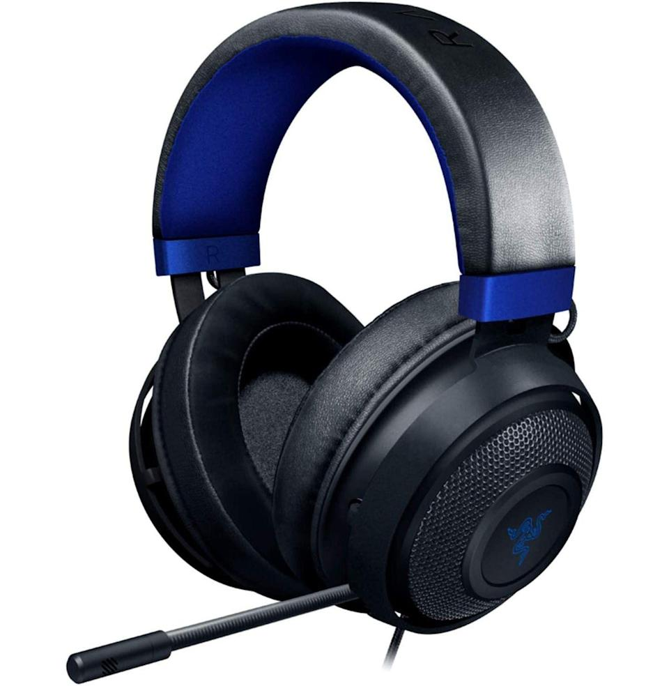 """<p><strong>Razer</strong></p><p>amazon.com</p><p><strong>$44.99</strong></p><p><a href=""""https://www.amazon.com/dp/B07QNZC9V5?tag=syn-yahoo-20&ascsubtag=%5Bartid%7C10054.g.36716381%5Bsrc%7Cyahoo-us"""" rel=""""nofollow noopener"""" target=""""_blank"""" data-ylk=""""slk:Buy"""" class=""""link rapid-noclick-resp"""">Buy</a></p><p><strong>Save 44% with Prime</strong></p><p>Razer does <a href=""""https://www.esquire.com/lifestyle/g35034712/best-ps5-headsets-3d-audio/"""" rel=""""nofollow noopener"""" target=""""_blank"""" data-ylk=""""slk:gaming headsets"""" class=""""link rapid-noclick-resp"""">gaming headsets</a> best, as this model with THX 7.1, plus a retractable, noise-isolating mic and 50mm drivers, proves.</p>"""