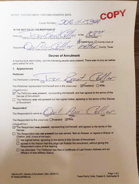 Image of annulment certificate texan police chief cheating drama