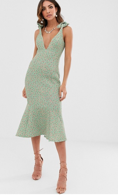 ASOS ditsy floral plunge tie shoulder midi dress - $77.00 down from $110.00