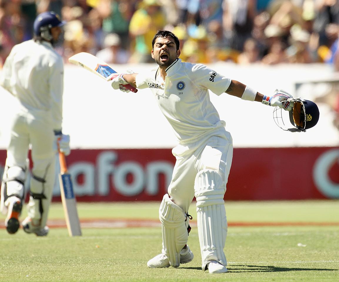 ADELAIDE, AUSTRALIA - JANUARY 26:  Virat Kohli of India celebrates his century during day three of the Fourth Test Match between Australia and India at Adelaide Oval on January 26, 2012 in Adelaide, Australia.  (Photo by Hamish Blair/Getty Images)