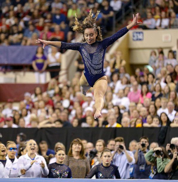 PHOTO: UCLA's Katelyn Ohashi performs on the floor during the NCAA Women's National Collegiate Gymnastics Championship Finals at the Fort Worth Convention Center in Fort Worth, Texas, April 20, 2019. (Kyle Okita/CSM/REX/Shutterstock)