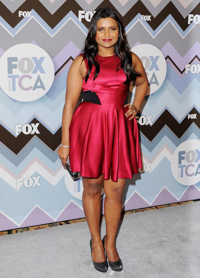 PASADENA, CA - JANUARY 08:  Actress Mindy Kaling arrives at the 2013 Winter TCA FOX All-Star Party at The Langham Huntington Hotel and Spa on January 8, 2013 in Pasadena, California.  (Photo by Jon Kopaloff/FilmMagic)