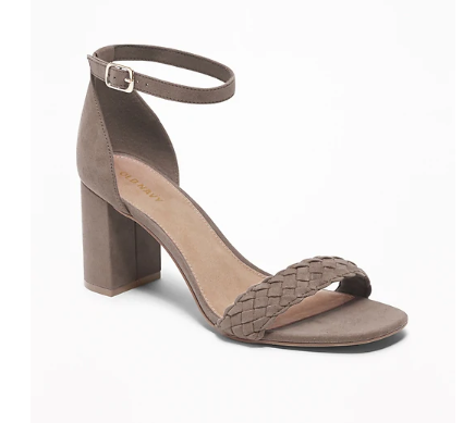 Faux-Suede Braided-Strap Block-Heel Sandals