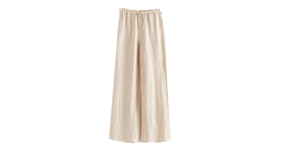 Flared Linen Blend Trousers