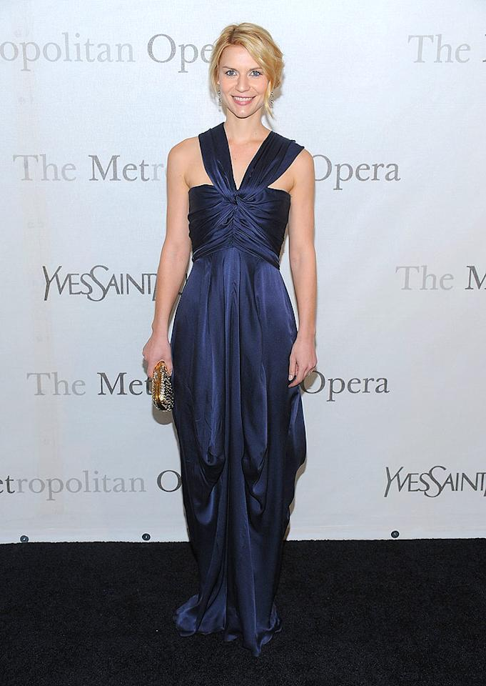 "Newly engaged Claire Danes was the epitome of elegance in blue. Dimitrios Kambouris/<a href=""http://www.wireimage.com"" target=""new"">WireImage.com</a> - March 15, 2009"