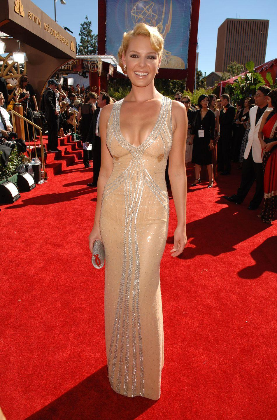 <p>Nude dresses have been a go-to for starlets at the Emmys. The then <em>Grey's Anatomy </em>star looked statuesque in Escada in 2006. </p>