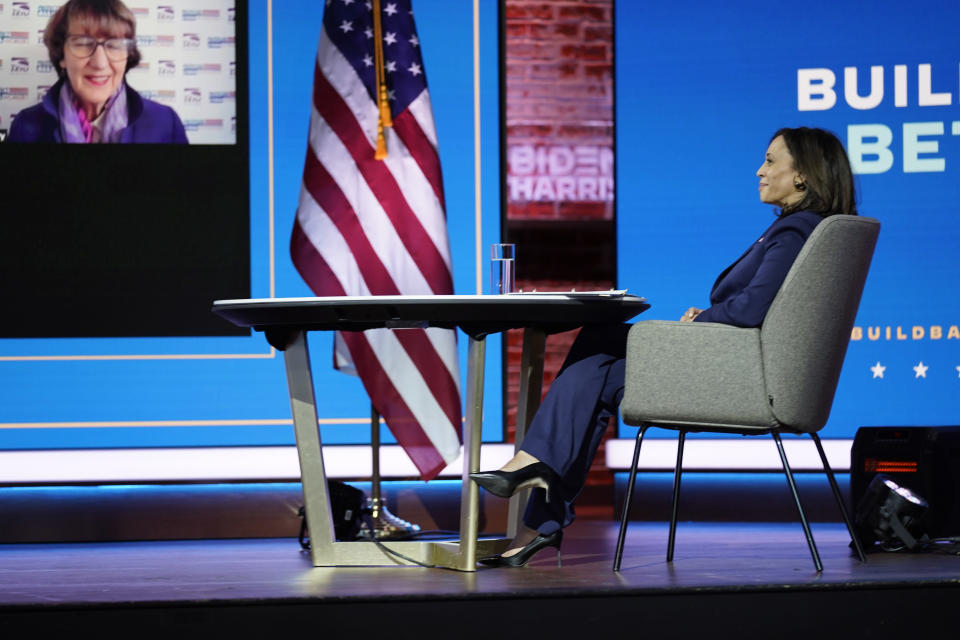 President-elect Joe Biden and Vice President-elect Kamala Harris attend a briefing on the economy at The Queen theater, Monday, Nov. 16, 2020, in Wilmington, Del. (AP Photo/Andrew Harnik)