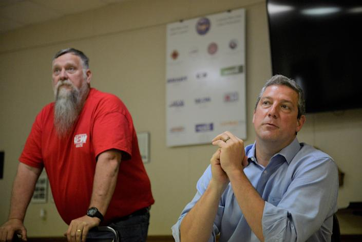 U.S. Senate candidate Tim Ryan, right, visited the steelworkers union hall in Shelby Monday afternoon.