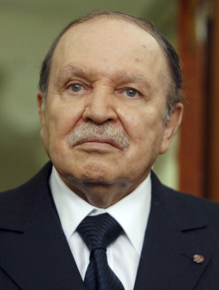 FILE - In this Monday, April, 16, 2012, file photo is Algerian President Abdelaziz Bouteflika in Algiers. Former Algerian President Bouteflika, who fought for independence from France in the 1950s and 1960s and was ousted amid pro-democracy protests in 2019 after 20 years in power, has died at age 84, state television announced Friday, Sept. 17, 2021. (AP Photo/Sidali Djarboub, File)