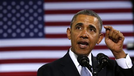 U.S. President Obama delivers remarks on the economy at the Safeway Distribution Center in Upper Marlboro