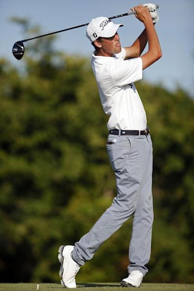 U.S.' Chesson Hadley tees off from the 18th hole during the final round of the Puerto Rico Open PGA golf tournament in Rio Grande, Puerto Rico, Sunday, March 9, 2014. (AP Photo/Ricardo Arduengo)