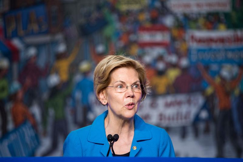 Sen. Elizabeth Warren (D-MA) speaks during the North American Building Trades Unions Conference at the Washington Hilton April 10, 2019 in Washington, DC. | Zach Gibson—Getty Images