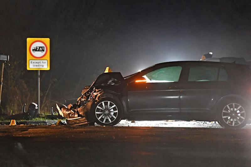 A car is seen with its frontage seriously damaged following the smash in Cambridgeshire on Thursday evening (PA)
