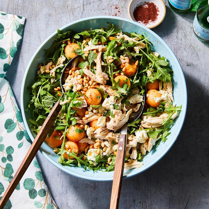<p>Sweet and savory find harmony in this salad dotted with ripe melon and tossed in a lemony dressing. Melon balls are so adorable but making them leaves some fruit behind-whir up those leftovers into a smoothie.</p>