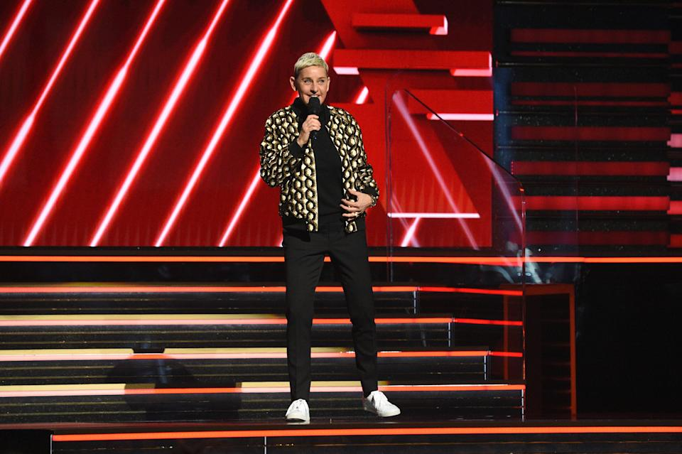 LOS ANGELES, CALIFORNIA - JANUARY 26: Ellen DeGeneres speaks onstage during the 62nd Annual GRAMMY Awards at STAPLES Center on January 26, 2020 in Los Angeles, California. (Photo by Kevin Mazur/Getty Images for The Recording Academy)