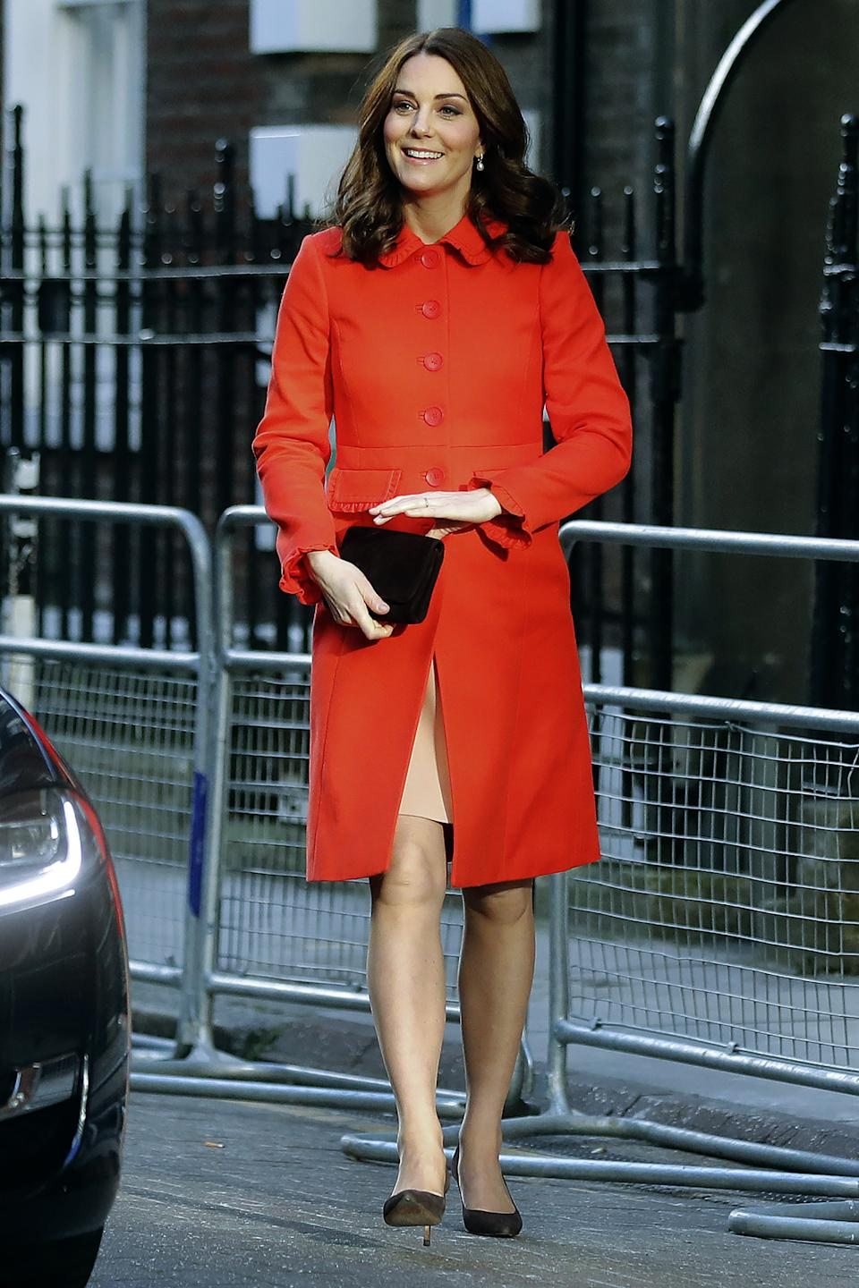 The Duchess of Cambridge wearing a Boden coat during a visit to Great Ormond Street Hospital on January 17, 2018. (Getty Images)