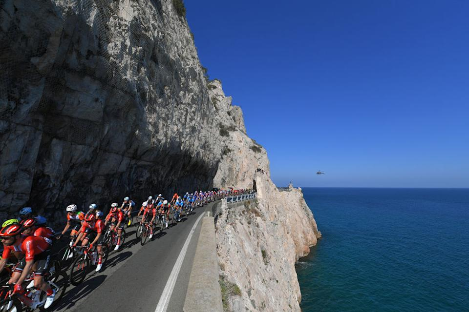 SANREMO ITALY  MARCH 23 Roy Curvers of The Netherlands and Team Sunweb  Mediterranean Sea  Landscape  Peloton  Helicopter  during the 110th MilanSanremo 2019 a 291km race from Milan to Sanremo  MilanSanremo  on March 23 2019 in Sanremo Italy Photo by Tim de WaeleGetty Images