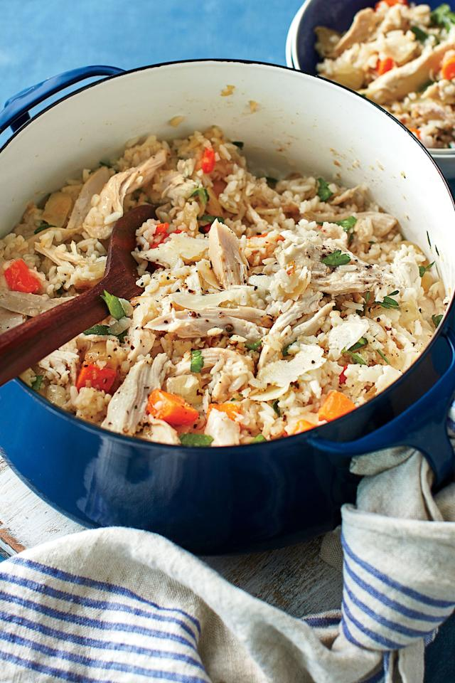 """<p><b>Recipe: <a href=""""http://www.southernliving.com/recipes/chicken-bog-recipe"""" target=""""_blank"""">Chicken Bog</a> </b></p> <p> This comforting rice dish will be your new favorite 30-minute meal.</p>"""