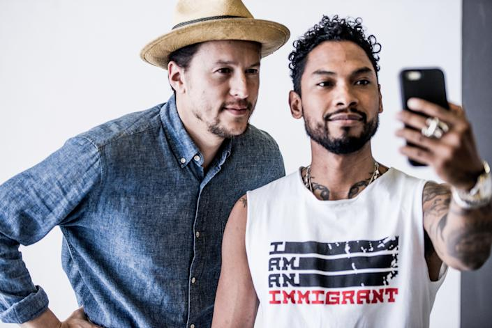"""Singer Miguelbehind the scenes of the """"I Am An Immigrant"""" photo shoot."""