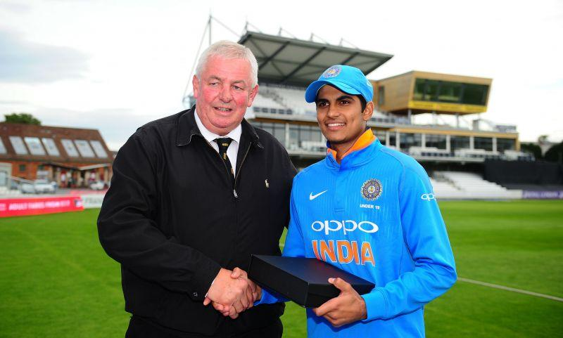 Shubman Gill receives the Player of the Tournament trophy after the series against England.