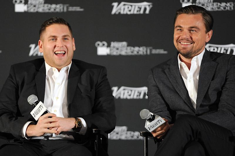 HOLLYWOOD, CA - FEBRUARY 10: Actors Jonah Hill and Leonardo DiCaprio speak at the 2014 Variety Screening Series of 'The Wolf of Wall Street' at ArcLight Hollywood on February 10, 2014 in Hollywood, California. (Photo by Angela Weiss/Getty Images)