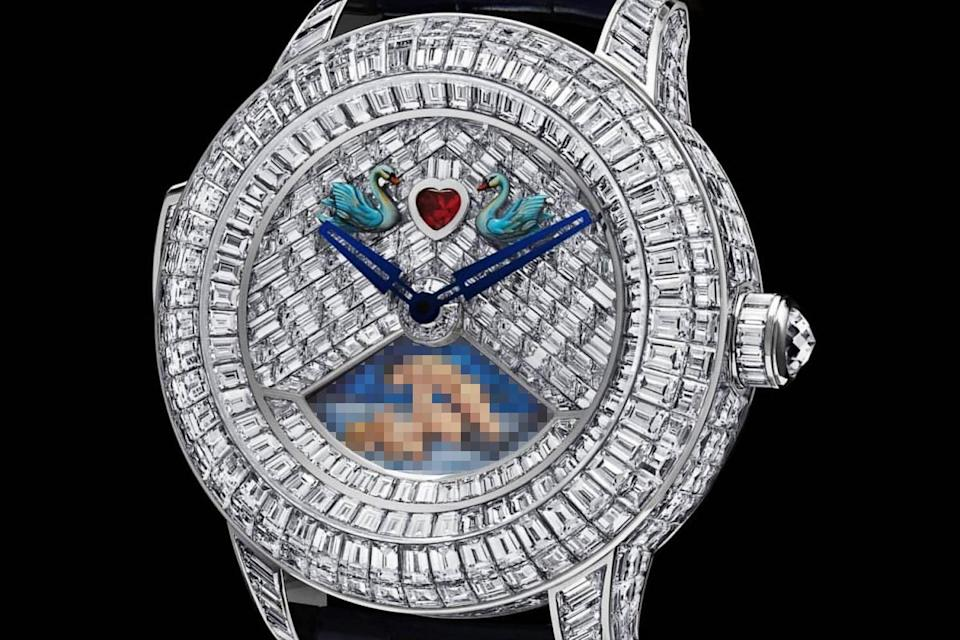 A close up of the erotic Jacob & Co. Rasputin Tourbillon Baguette watch from luxury watchmaker Jacob & Co. that costs $2 million. The sex scene on the bottom of the diamond-encrusted timepiece is blurred out.