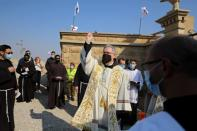 A mass at the Franciscan Church that was reopened at the Qasr el-Yahud site, near Jericho