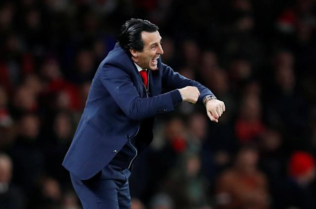 """Soccer Football - Premier League - Arsenal v Wolverhampton Wanderers - Emirates Stadium, London, Britain - November 11, 2018 Arsenal manager Unai Emery gestures REUTERS/Eddie Keogh EDITORIAL USE ONLY. No use with unauthorized audio, video, data, fixture lists, club/league logos or """"live"""" services. Online in-match use limited to 75 images, no video emulation. No use in betting, games or single club/league/player publications. Please contact your account representative for further details."""