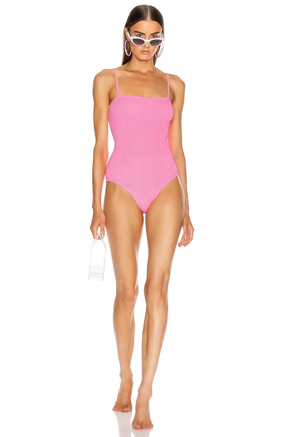 The Hunza G Maria Swimsuit - as seen on Chrissy Teigen, available at Forward, $225.