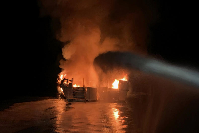 In this photo provided by the Ventura County Fire Department, VCFD firefighters respond to a boat fire off the coast of southern California, Monday, Sept. 2, 2019. (Photo: Ventura County Fire Department via AP)
