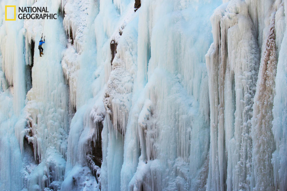 "A lone climber scales a sheer ice cliff in Ouray, Colorado, during the annual Ice Festival climbing competition. (Photo and caption Courtesy Garret Suhrie / National Geographic Your Shot) <br> <br> <a href=""http://ngm.nationalgeographic.com/your-shot/weekly-wrapper"" rel=""nofollow noopener"" target=""_blank"" data-ylk=""slk:Click here"" class=""link rapid-noclick-resp"">Click here</a> for more photos from National Geographic Your Shot."