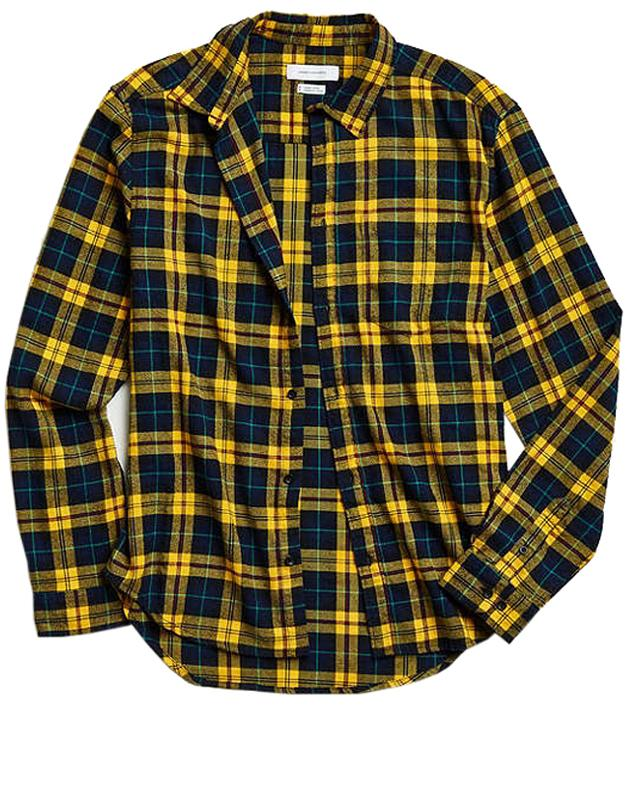 "<p><strong>Plaid Flannel Button-Down</strong></p><p>Yellow feels especially appropriate in the fall. </p><p><em>$50, <a rel=""nofollow"" href=""https://www.urbanoutfitters.com/shop/uo-plaid-flannel-button-down-shirt"">urbanoutfitters.com</a></em></p><p><a rel=""nofollow"" href=""https://www.urbanoutfitters.com/shop/uo-plaid-flannel-button-down-shirt"">SHOP</a><br></p>"
