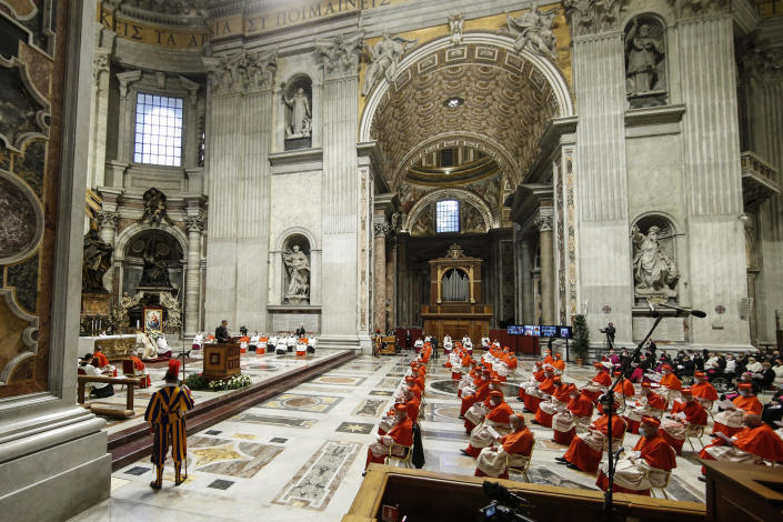 Pope Francis attends a consistory ceremony where 13 bishops were elevated to a cardinal's rank in St. Peter's Basilica at the Vatican, Saturday, Nov. 28, 2020. (Fabio Frustaci/POOL via AP)