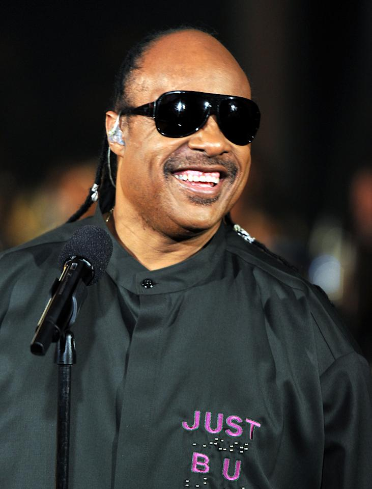 Singer Stevie Wonder onstage during the GRAMMY Nominations Concert Live at Club Nokia on December 1, 2010 in Los Angeles, California.  (Photo by Kevin Winter/Getty Images)