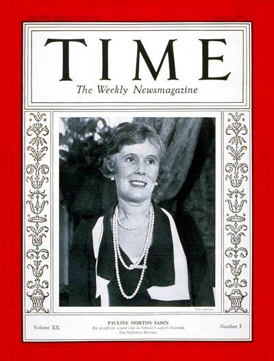 New York socialite Pauline Morton Sabin, a key leader of the campaign to repeal Prohibition, on the July 18, 1932, cover of TIME magazine.