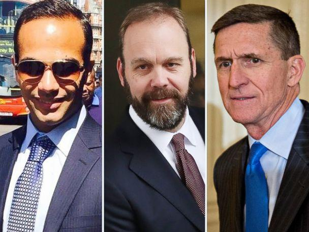 PHOTO: A combination image shows George Papadopoulos from his Linkedin profile, Richard Gates leaving court in 2018 and Michael Flynn at the White House in 2017. (AFP/Getty Images)