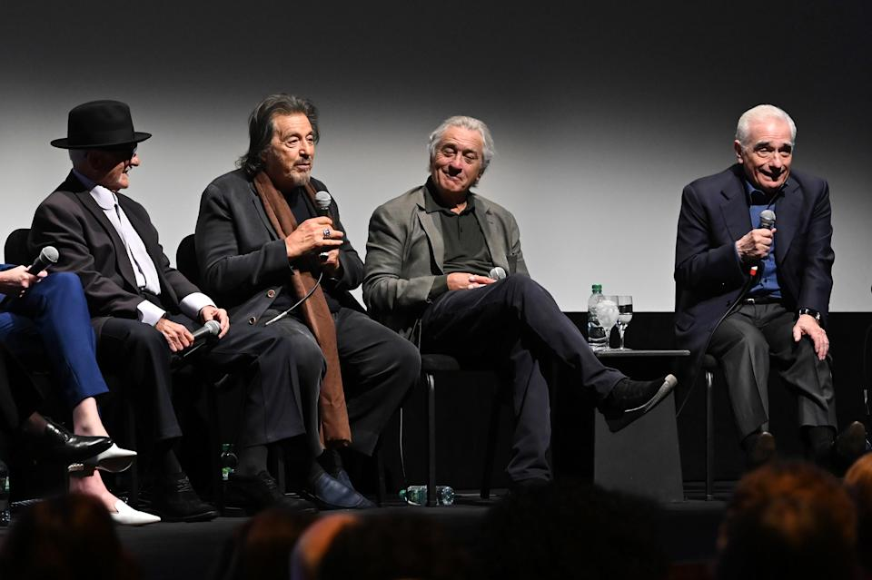 """NEW YORK, NEW YORK - SEPTEMBER 27: (L-R) Joe Pesci, Al Pacino, Robert De Niro, and Martin Scorsese at """"The Irishman"""" press conference during the 57th New York Film Festival at Alice Tully Hall, Lincoln Center on September 27, 2019 in New York City. (Photo by Dia Dipasupil/Getty Images for Film at Lincoln Center)"""