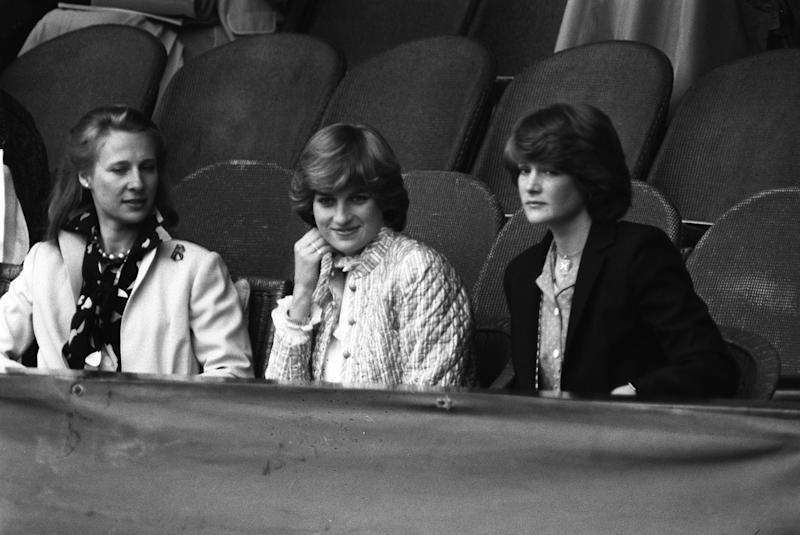 Princess Diana (center), and her sister, Sarah, at Wimbledon to watch tennis on July 3rd, 19881. Photo courtesy of Getty Images.