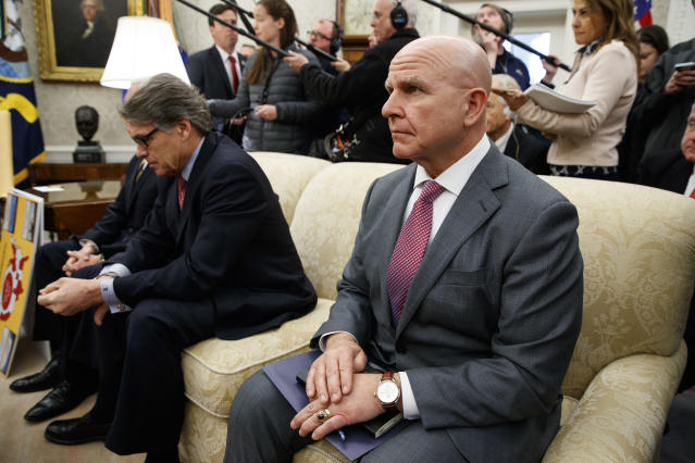National Security Adviser H.R. McMaster, right, sits with Energy Secretary Rick Perry during a meeting between President Donald Trump and Saudi Crown Prince Mohammed bin Salman in the Oval Office of the White House on March 20, 2018, in Washington. (Photo: Evan Vucci/AP)