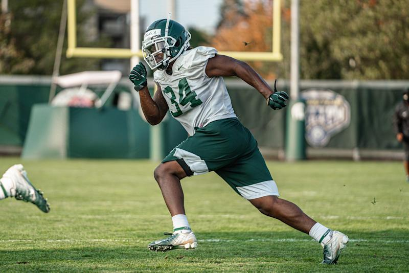 Michigan State linebacker Antjuan Simmons during practice Monday, Sept. 21, 2020.