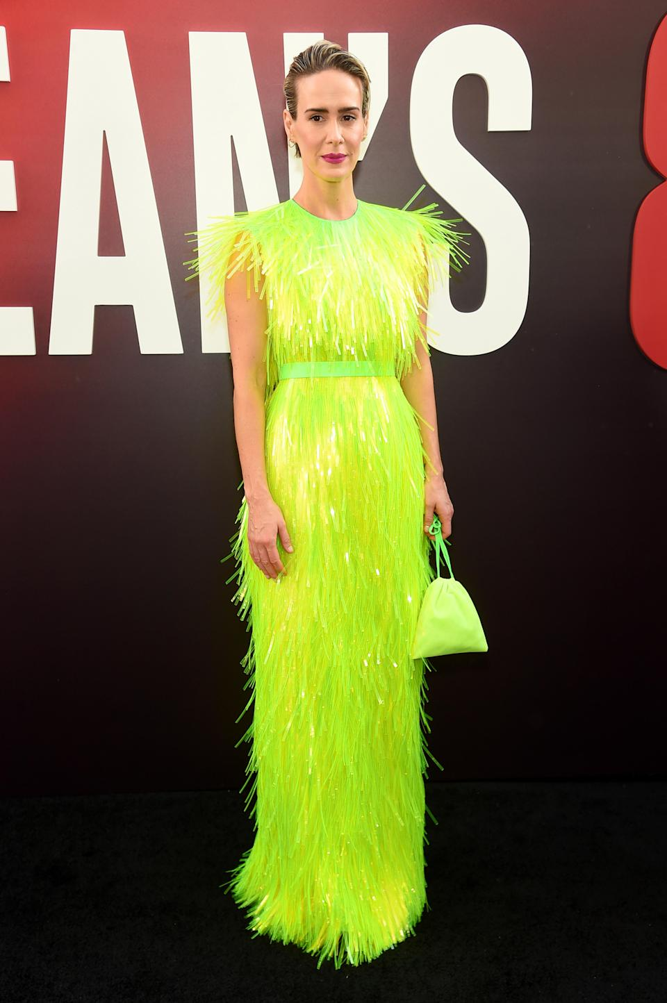 <p>Sarah Paulson gave lessons in the neon trend courtesy of an AW18 Prada dress complete with co-ordinating bag and bespoke Brian Atwood 'Karin' sandals. <em>[Photo: Getty]</em> </p>
