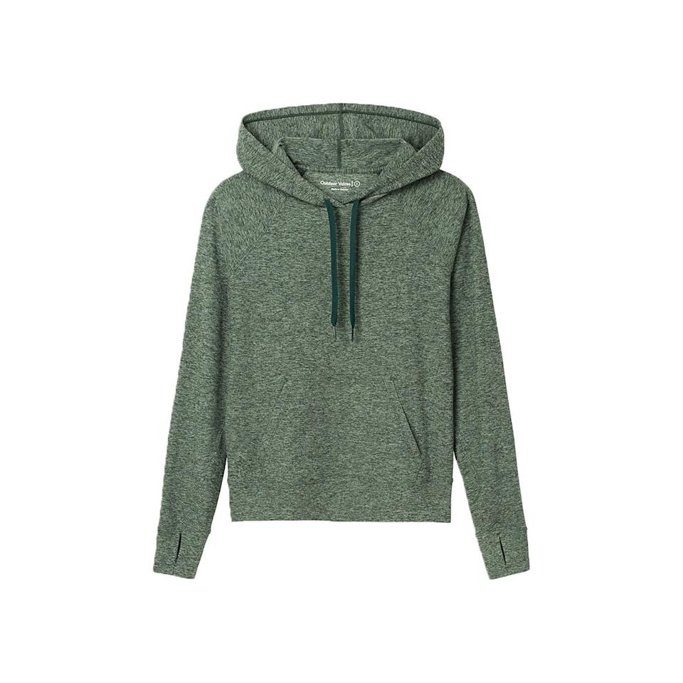"""$85, Outdoor Voices. <a href=""""https://www.outdoorvoices.com/products/w-cloudknit-hoodie?variant=30266863583310"""">Get it now!</a>"""