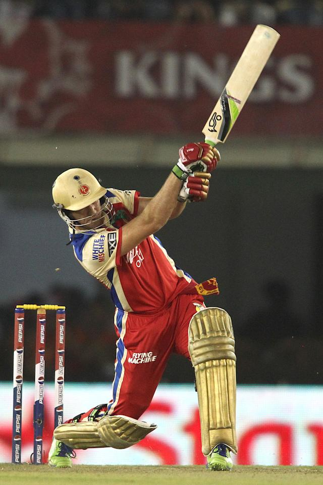 AB de Villiers of the Royal Challengers Bangalore attacks a delivery during match 51 of the Pepsi Indian Premier League (IPL) 2013 between Kings XI Punjab and the Royal Challengers Bangalore held at the PCA International Stadium in Mohali on the 6th May 2013..Photo by Shaun Roy-IPL-SPORTZPICS ..Use of this image is subject to the terms and conditions as outlined by the BCCI. These terms can be found by following this link:..https://ec.yimg.com/ec?url=http%3a%2f%2fwww.sportzpics.co.za%2fimage%2fI0000SoRagM2cIEc&t=1495669203&sig=2izVhPGL3WVI4dZz3_1sYQ--~C