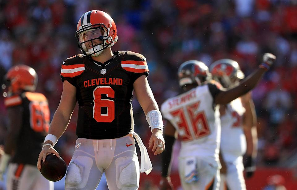 The NFL reportedly acknowledged that a violent blow to Baker Mayfield's head should have drawn a penalty. (Getty)