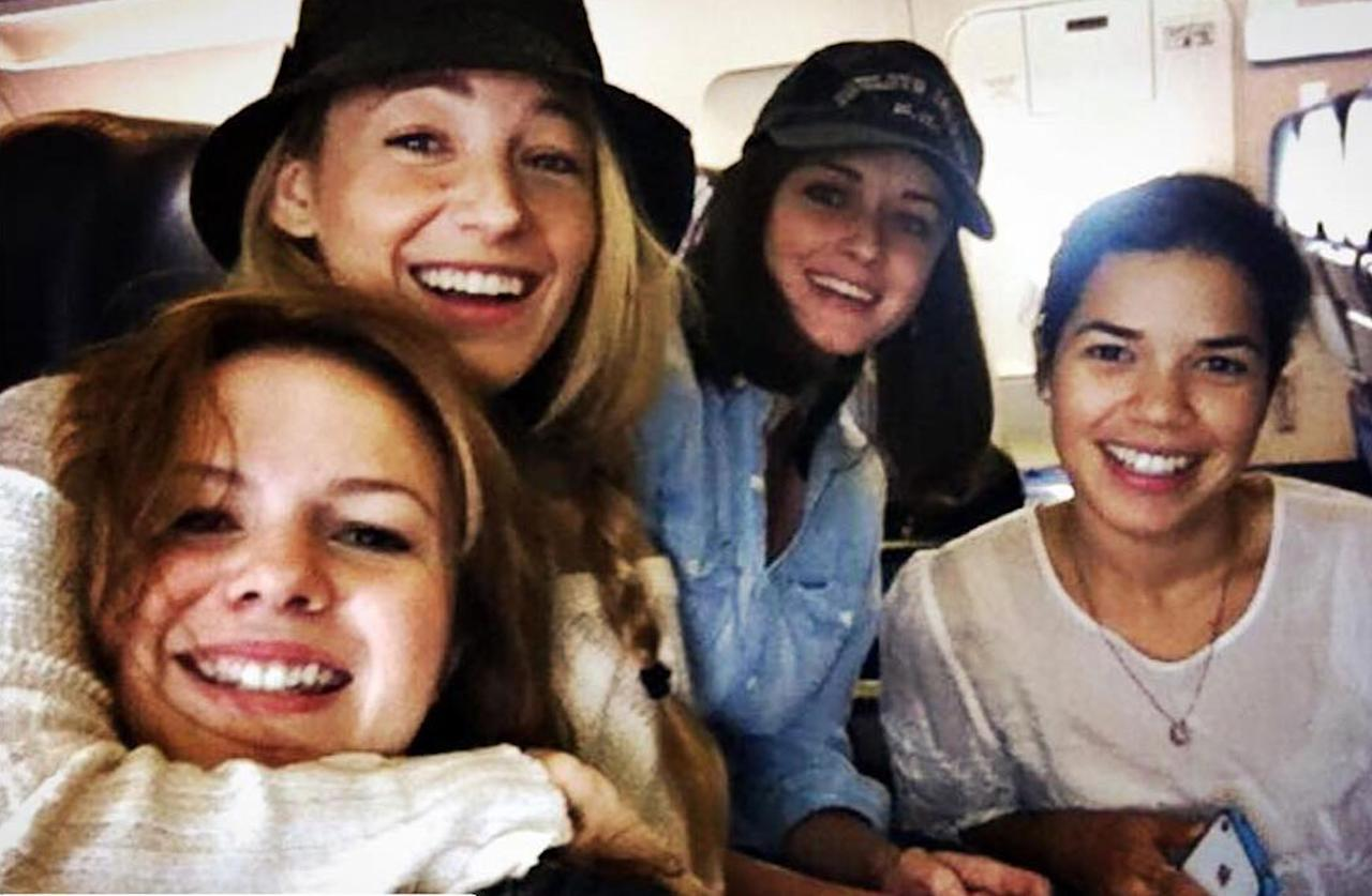 """<p>""""<a rel=""""nofollow"""" href=""""https://www.instagram.com/p/BHCY3nWj57i/?hl=en"""">This flight and trip was a very special and sacred day for me.</a> I love this photo so much,"""" Amber Tamblyn posted on Instagram. """"Surround yourself with good women in your life. It means everything. Love my sisters.""""<br />(Photo: Instagram/Amber Tamblyn) </p>"""
