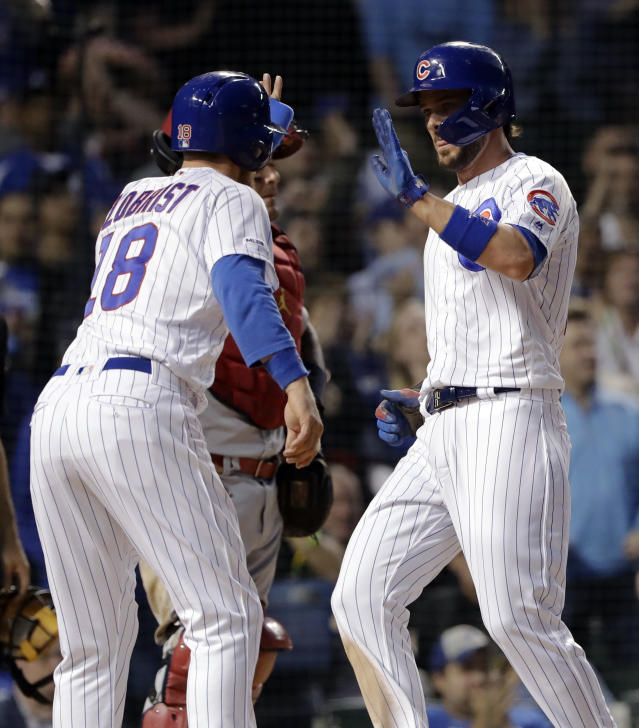 Chicago Cubs' Ben Zobrist celebrates with Kris Bryant after they scored on a two-run double by Anthony Rizzo during the sixth inning of a baseball game against the St. Louis Cardinals, Sunday, May 5, 2019, in Chicago. (AP Photo/Nam Y. Huh)